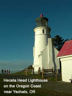 Hecate Head Lighthouse on the Oregon Coast near Yachats, OR