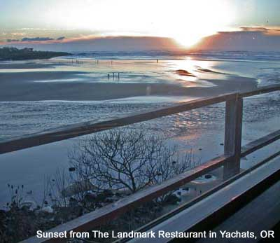 View of the sunset from The Landmark Restaurant in Yachats, OR